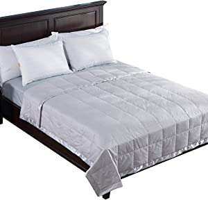 puredown® Lightweight Natural White Down Blanket for Bedding Satin Weave 100% Cotton Blue, Full/Queen Size