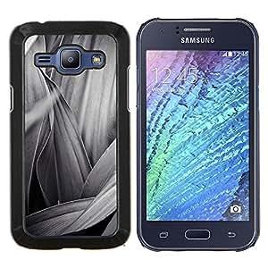 Caucho caso de Shell duro de la cubierta de accesorios de protección BY RAYDREAMMM - Samsung Galaxy J1 J100 - Negro Hoja Blanca