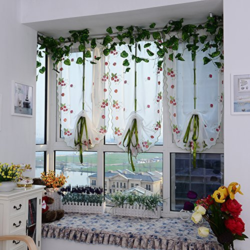 Foerteng Cute Top Finel Embroidered Strawberry Print Sheer Curtain Panels
