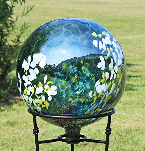 Glass Gazing Ball Daisy 12 Inch by Iron Art Glass Designs