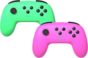 KINVOCA Wireless Switch Pro Controller for Nintendo Switch/Switch Lite, Ergonomic Joycon Pad, Joy Con Remote with Soft Touch and Non-Slip Design, Pink and Green, 2 Pack