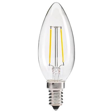 Bombilla LED de filamento tipo vela rosca E14 3w decorativa 2700K