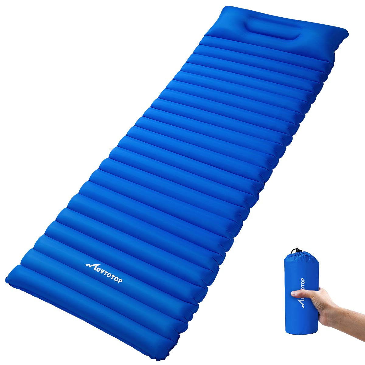 MOVTOTOP Camping Sleeping Pad【Newest 2019】, Ultralight Sleeping Mat with Attached Pillow, Backpacking Inflating Sleeping Pad (78.7 x 23.6 x 3.6in), Perfect for Hiking, Traveling and Backpacking(Blue) by MOVTOTOP