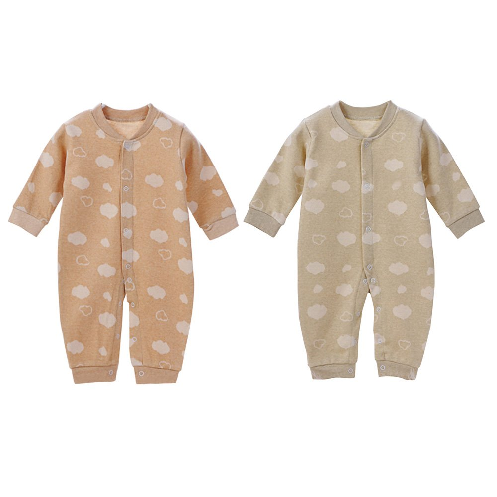 pinnacleT1 Baby Cotton Romper Infant Jumpsuit Boys Girls Sleepwear Long-Sleeved Snap Closure for Boys and Girls