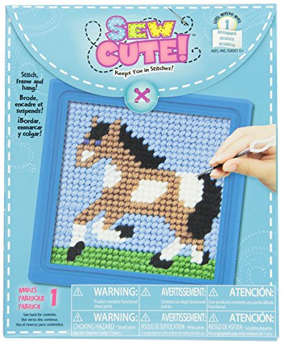 Colorbok Q2342A Horse Learn To Stitch Needlepoint Kit, 6-Inch by 6-Inch, Blue Frame by Colorbok