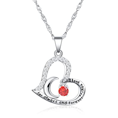 Birthstone Jewelry Fine Necklace Love Heart I You For Always And Forever