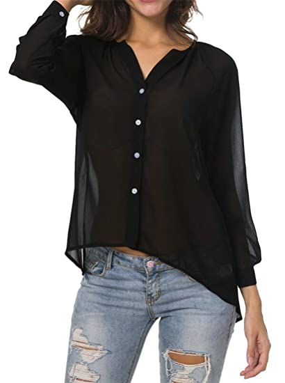 6e07900d967 Wofupowga Womens See Through Botton Down Long Sleeve Chiffon Blouse Shirts  Tops at Amazon Women s Clothing store