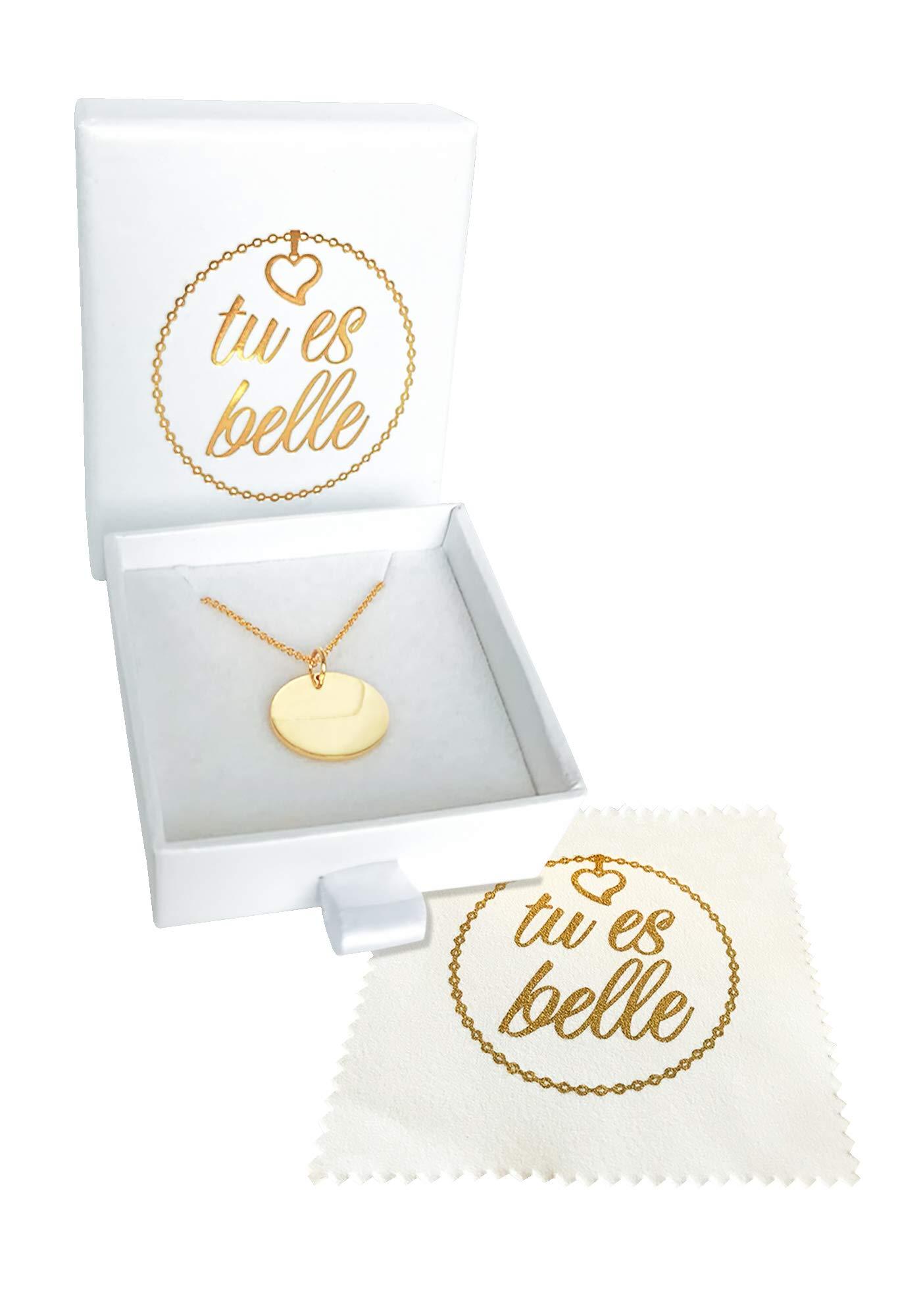 Premium Damen Kette mit Plättchen - JE T\'AIME mit 18k Gold vergoldet, Frauen Halskette mit rundem Anhänger, Plättchenkette, Goldkette, Ausgefallenes Geschenk| GRATIS Geschenk! (Gold (Weiße Box))