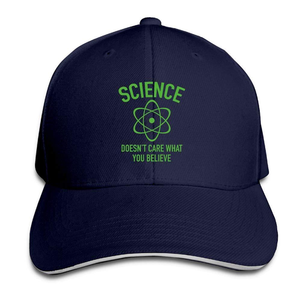 JustQbob1 Science Doesnt Care What You Believe Outdoor Snapback Sandwich Cap Adjustable Baseball Hat Trucker Cap