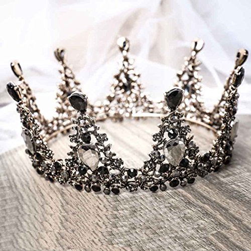 Aukmla Black Crown Gothic Wedding Headpiece Tiara Dolce Baroque Crown Bridal Crystal Tiara Diadem Cosplay Dark Evil Queen Crown for Women and Girls ()