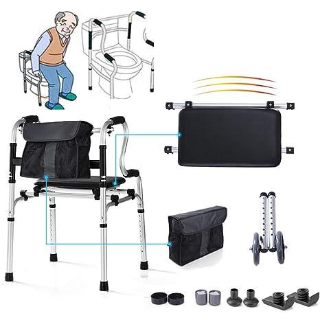 WENTAO Portátil Andador Andador Silla de baño con Asiento Suave/Bolsa de Almacenamiento y 5