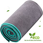 DubeeBaby Microfiber Hot Yoga Towel Non Slip Absorbent for Yoga Mat 24x72 inch Gray