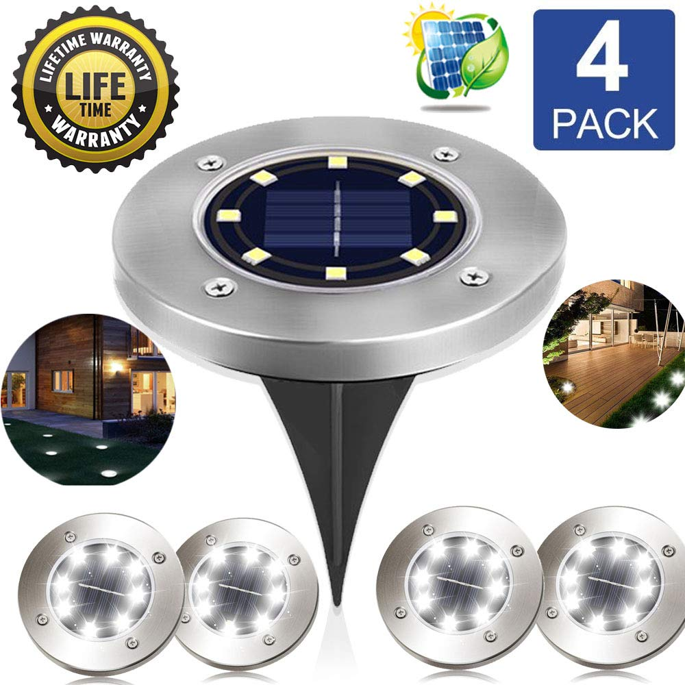 Solar Ground Lights In-Ground Lights Outdoor Solar Lights 8 LEDs Landscape Lights Waterproof Pathway Walkway Pool Area Landscape Lights, White Light, 4 pack