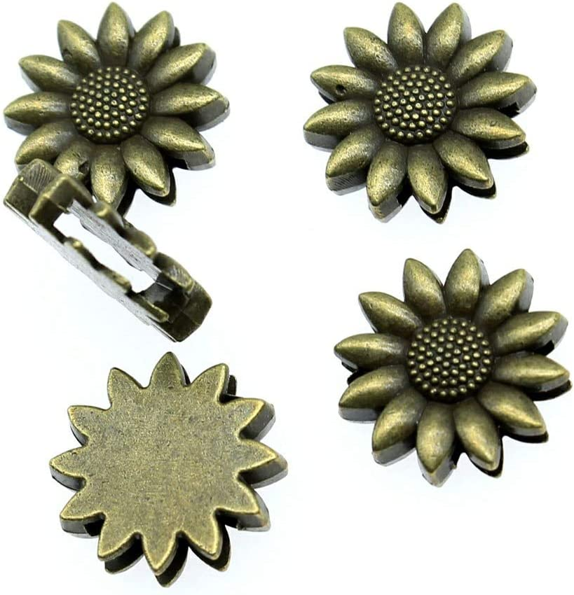 Sunflower Loose Spacer Beads Charms Jewelry Making Silver Fit Bracelets