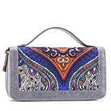 Womens Double Zipper Around Clutch Wallet Card Holder Purse with Coin Pocket and Handle (Grey Cavans)