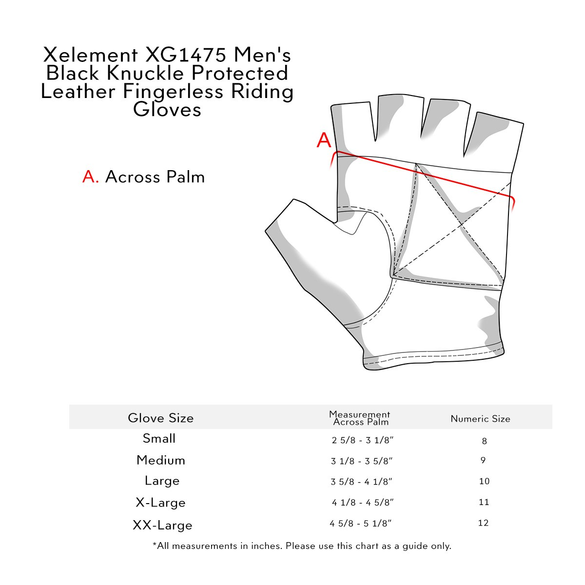 Xelement XG1475 Mens Black Knuckle Protected Leather Fingerless Riding Gloves - 2X-Large