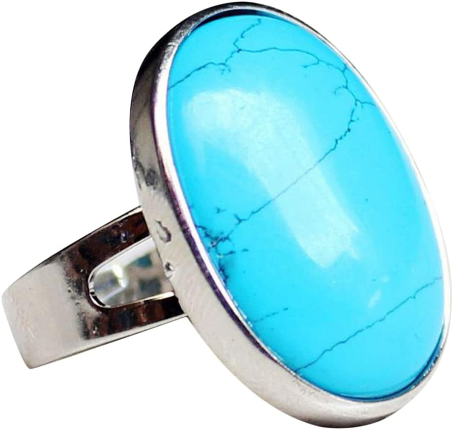 MagiDeal Anillo Ajustable de Dedo Hecho de Piedra Preciosa Oval Cristal Natural - Azul