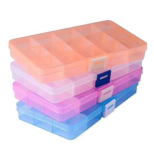 Opret 4 Pack Caja de Almacenamiento Caja Compartimentos de Plástico (15 Compartimentos) con Separadores Ajustables Organizador de Joyería Contenedor de ...
