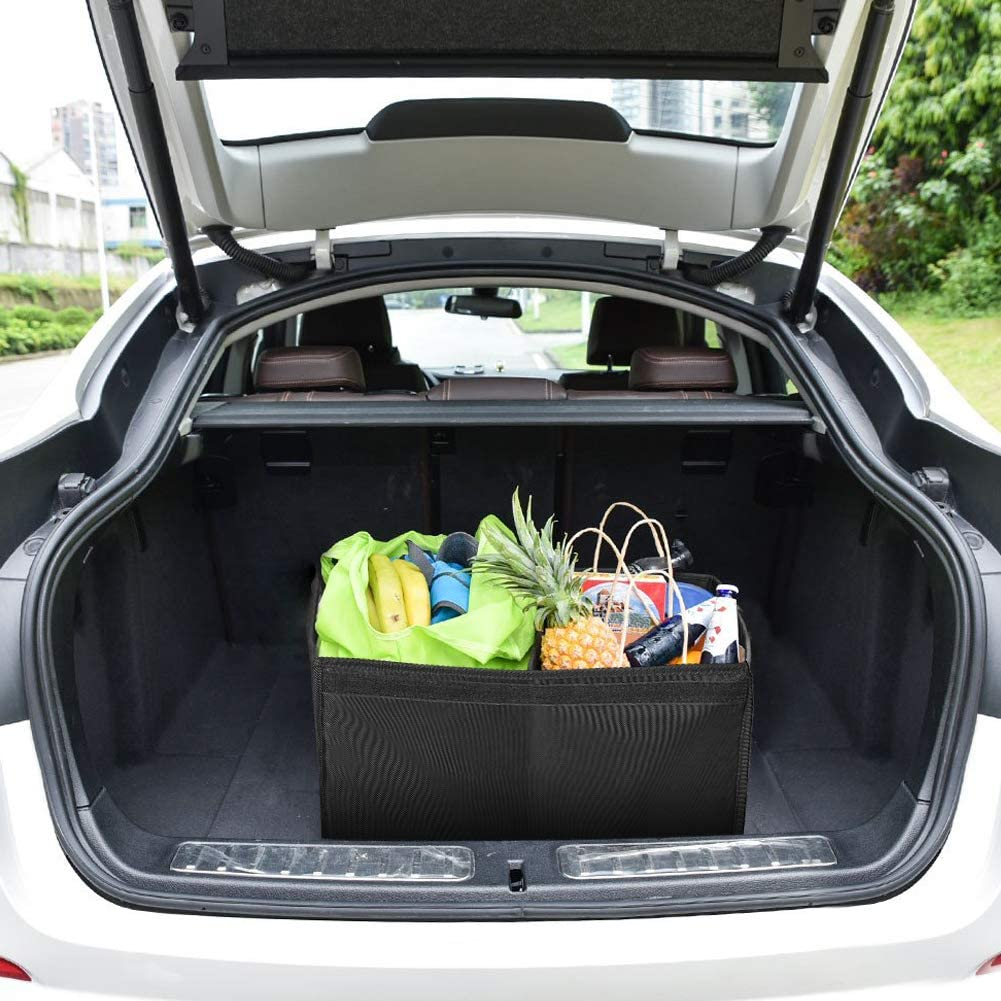 Hivexagon Collapsible Car Trunk Organizer with Waterproof Bag Garage Home or Garden Durable Plastic Grocery Storage Box with Lid Perfect for Cars Black AT054