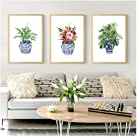 Hxjlm Art Print Ginger Jar Blue White Porcelain China Ming Vase Wall Art Canvas Painting Poster Watercolor Floral Decor 30X40Cmx3Pcs