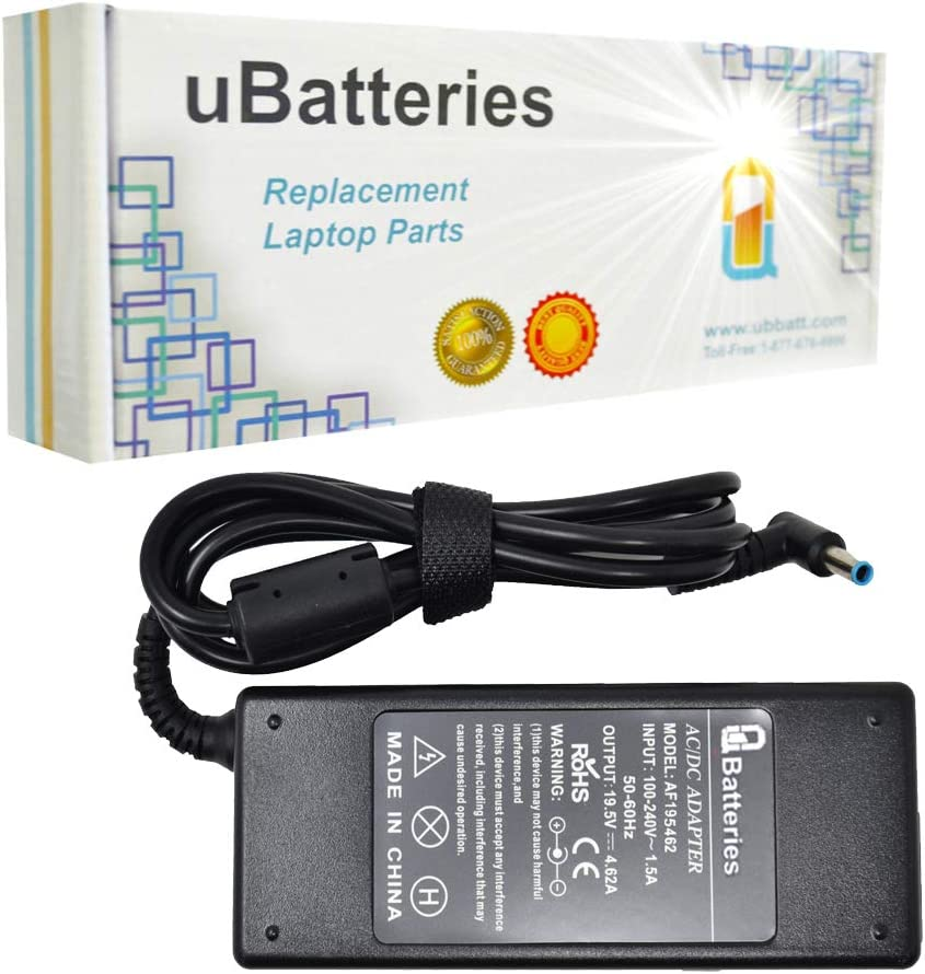 UBatteries Compatible 19.5V 4.62A 90W Laptop AC Adapter Charger Replacement for HP EliteBook 725 735 745 755 810 820 840 850 K12 348 820 840 850 PowerBook ProBook 650 430 440 450 640 Series