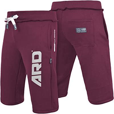 ARD CHAMPS Mens Cotton Fleece Shorts Jogging Casual Home Wear MMA Boxing Martial Art Jogger (S-XXL) (Maroon, XX-L): Clothing