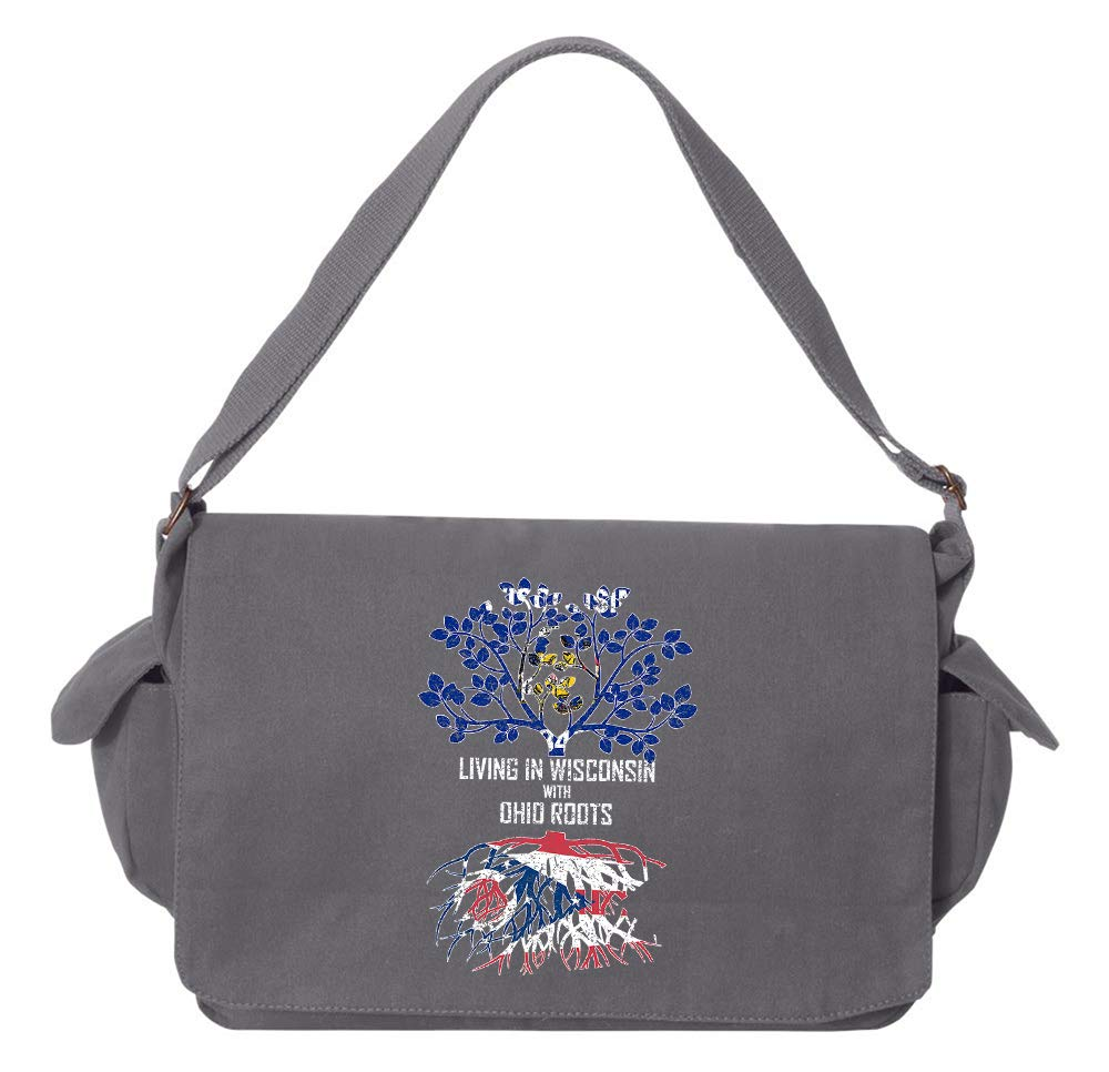 Tenacitee Living In Wisconsin with Ohio Roots Grey Brushed Canvas Messenger Bag