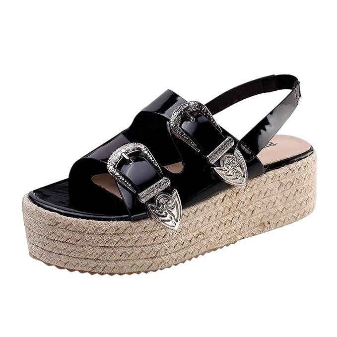 124478b6d Photno Women s Wedge Sandal Double Buckle Open Toe Belt Back Casual Sandals  Black