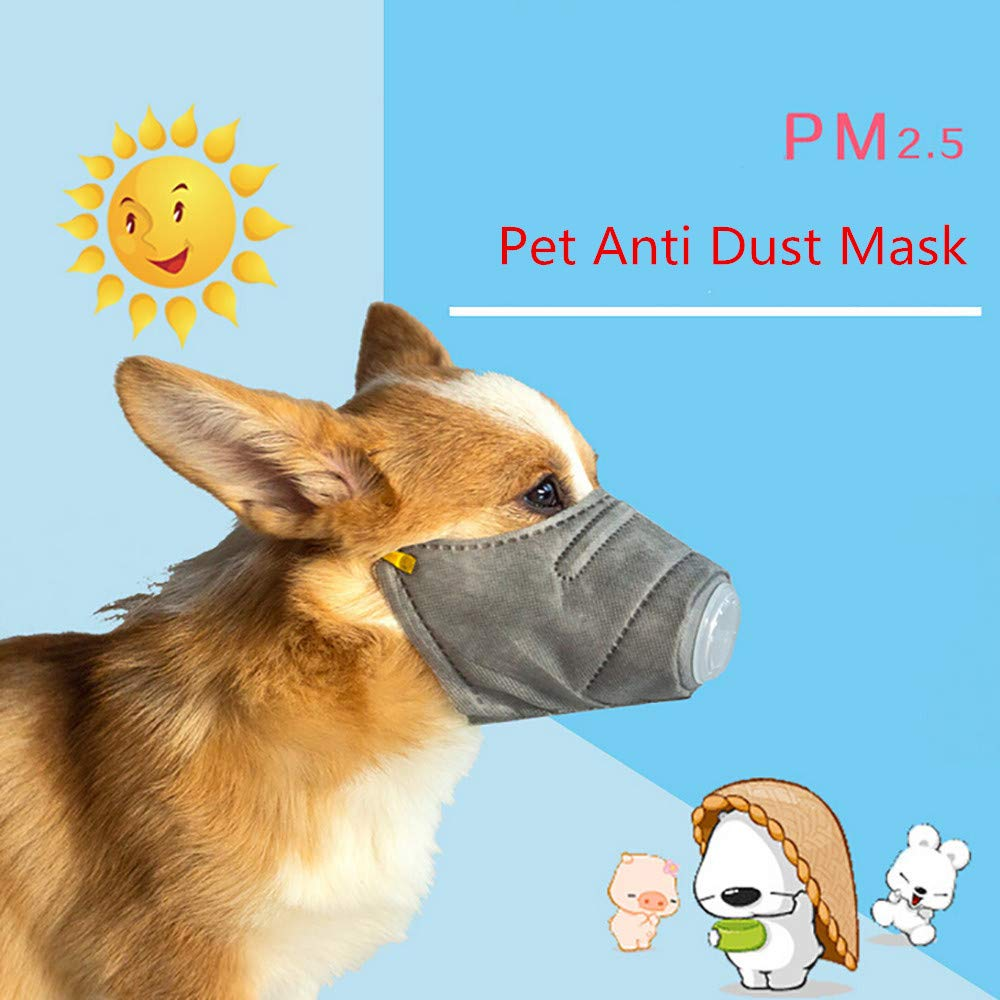 WensLTD Hot ! 3Pcs Dog Soft Cotton Mouth Mask Pet Respiratory PM2.5 Filter Anti Dust Masks (S, Gray) by WensLTD-Pet Supplies (Image #2)