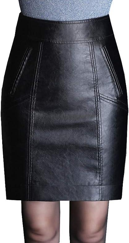 DISSA fs7658 Mujer PU Piel Gran tamaño Lápiz Faldas Mini Faldas ...