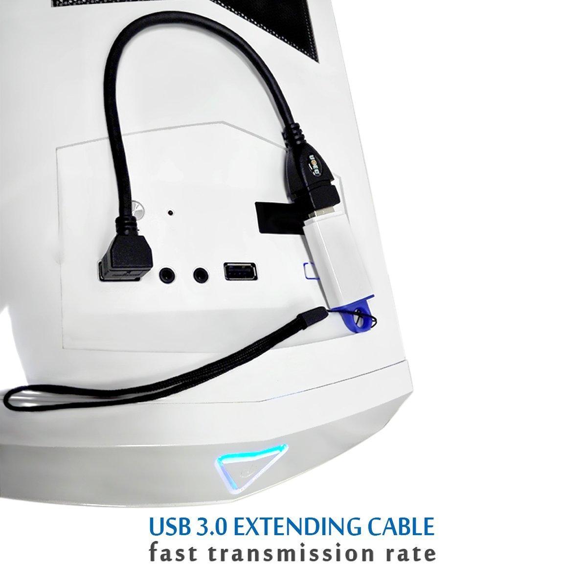 UCEC/® Cable Alargador USB 3.0 Alta Velocidad Macho a hembra Extension Cable de 90 Grados /Ángulo Adaptador Conector Pack of 2 Color Negro /Ángulo Derecho y Izquierdo