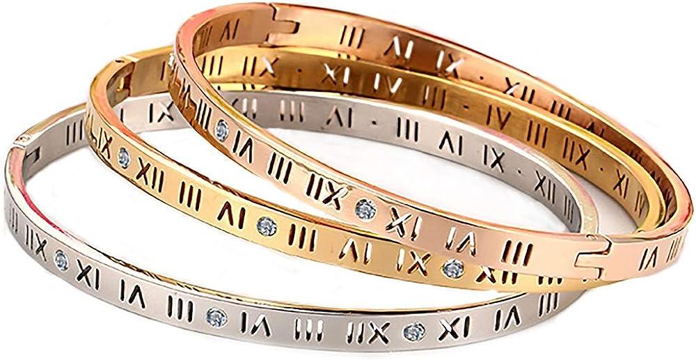 Winnie Women/'s Love Titanium Steel Cuff Bangle Bracelet Friendship Fashion Bracelets for Teen Girls Couples,Gold Silver Rose Gold and Black.