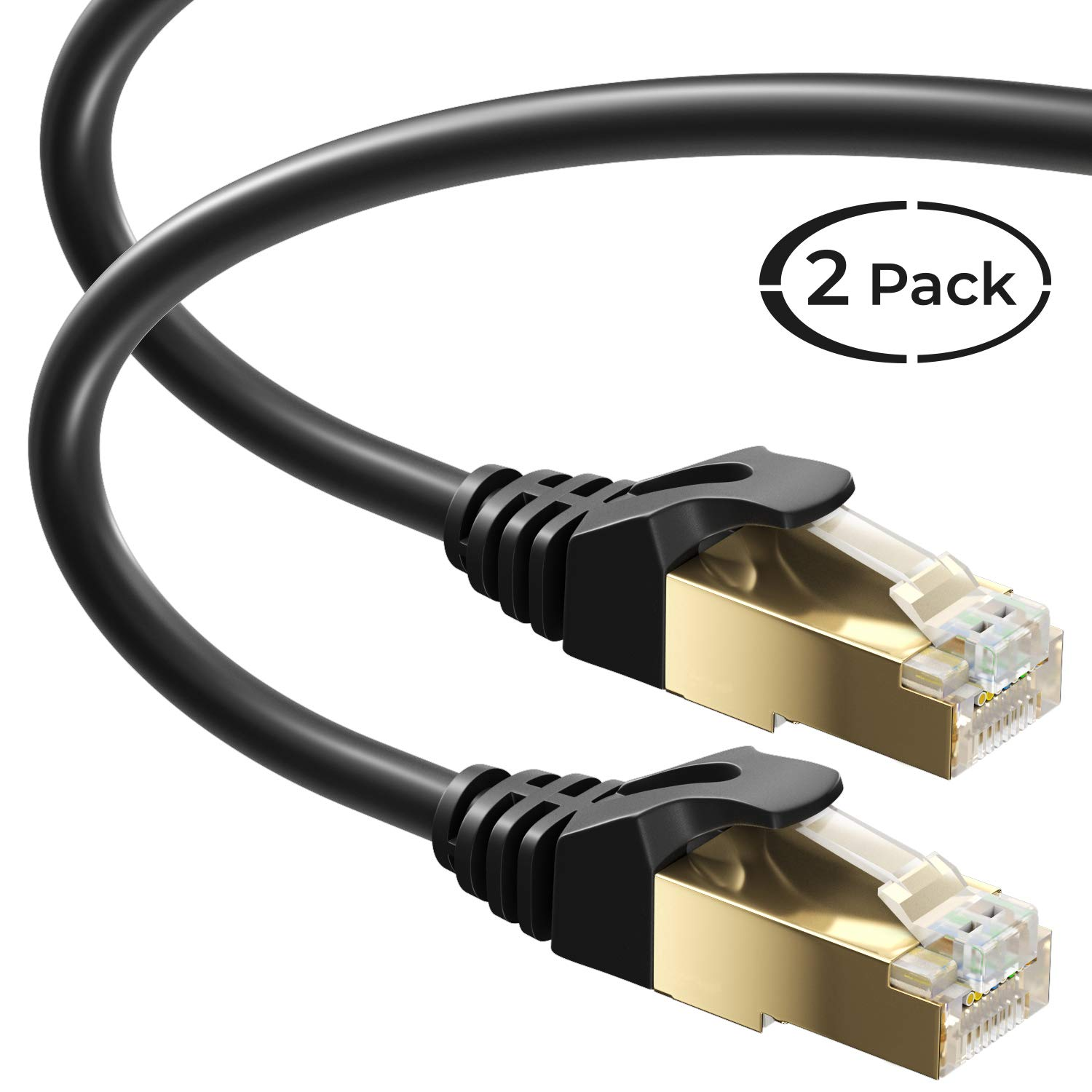 ACL 25 Feet RJ45 Ultra Premium 32AWG Cat6 550 MHZ Flat Ethernet Cable 2 Pack Black
