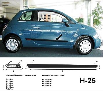 Spangenberg 370012501 - Listones de protección Lateral para Fiat 500 (Modelos de 2007 a 2011, H25), Color Negro y Plateado: Amazon.es: Coche y moto