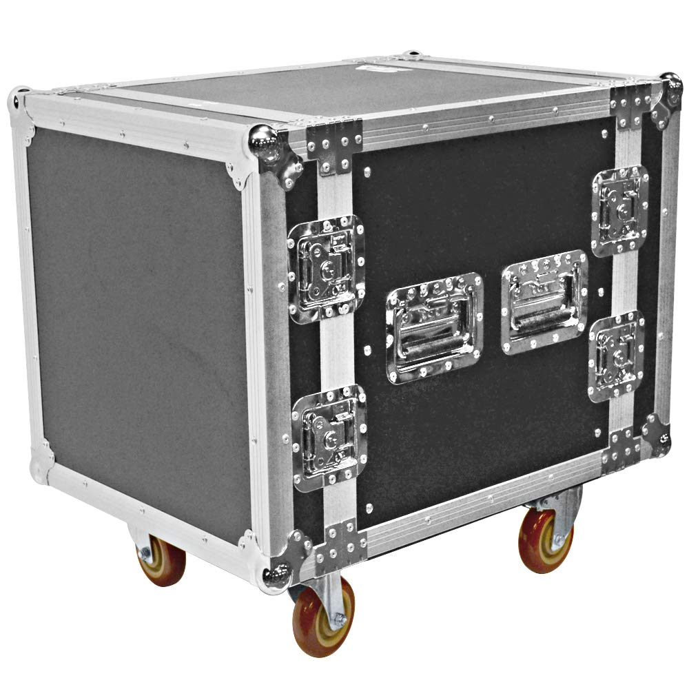 Seismic Audio - SATAC10U - Heavy Duty 10 Space ATA Rack Case with 4 Inch Casters - Pro Audio DJ Rack - 10U Server Network Case