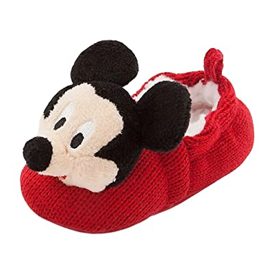 Disney Store Mickey Mouse Plush Slippers Shoes Size 6 - 12 Months Crochet