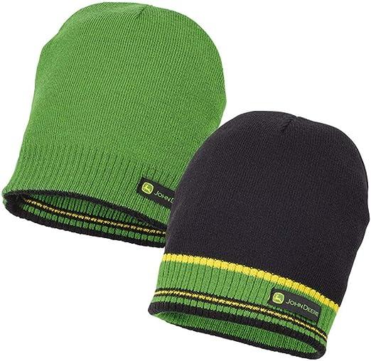 John Deere - Gorro de Lana Reversible, Color Negro y Verde ...