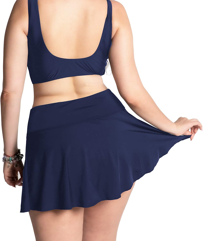 KEEPRONE Womens Skirted Plus Size Swim Bottoms High Waisted Flounce Swimsuits Skirt Two Piece Tankini Bottom for Women