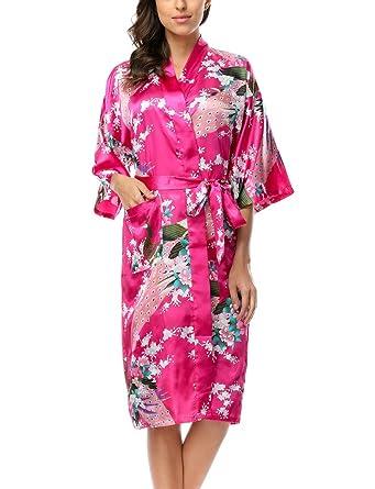 283e396cd539f1 Belloo Damen Satin Bademantel Sommer Lang Morgenmantel Kimono Silk ...