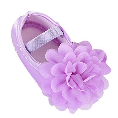 ManxiVoo Toddler Newborn Baby Girls Soft Walking Shoes Chiffon Flower Elastic Band Dress Shoes Summer Flats: Clothing [5Bkhe0606480]