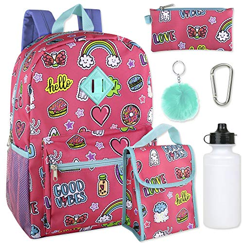 Girls 6 in 1 Backpack Set Including A Backpack, Lunch Bag, Pencil Case,Water Bottle, Pom Pom Keychain, And Clip (Pink)