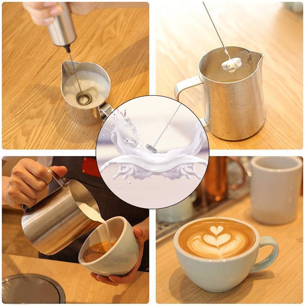 Jourbon Elektrischer Milchaufsch/äumer mit Doppeltem Quirl Edelstahl Milchaufschaeumer f/ür Kaffee//Latte//Cappuccino