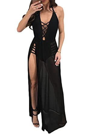 Lovaru Womens Sexy Deep V Neck Sheer Mesh See Through Maxi Dress