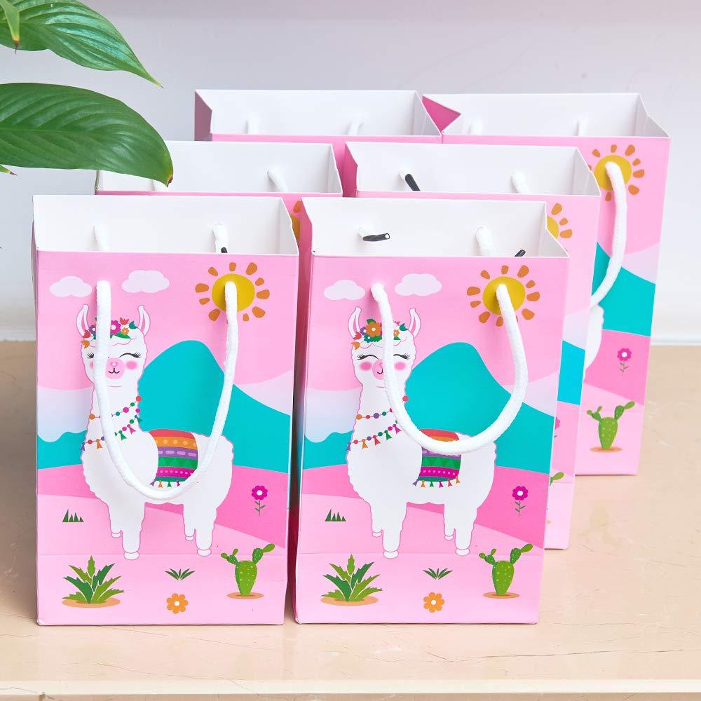16 Piezas Llama Cactus Alpaca Suministros para la Fiesta Papel Favorece Las Bolsas de Trato con Asas Fiesta de cumplea/ños Boda Baby Shower WERNNSAI Bolsas de Regalo de Fiesta