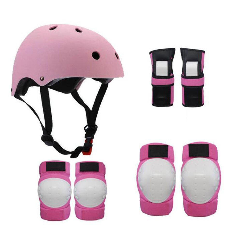 1Set(7Pcs) Kids Youth Adjustable Comfortable Helmet with Sports Protective Gear Set Knee/Elbow/Wrist Pads for Cycling Skateboarding Skating Rollerblading and Other Extreme Sports Activities(Pink)