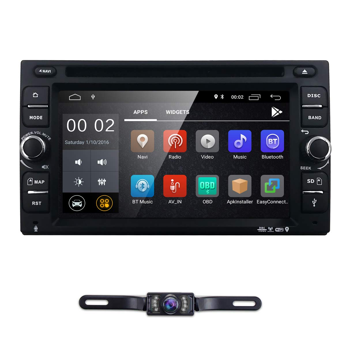 """Amazon.com: 6.2"""" inch Android 8.1 Double Din in Dash Radio Car Video  Receiver DVD Player Bluetooth WiFi 4G GPS Navigation System Rear Camera:  Car ..."""