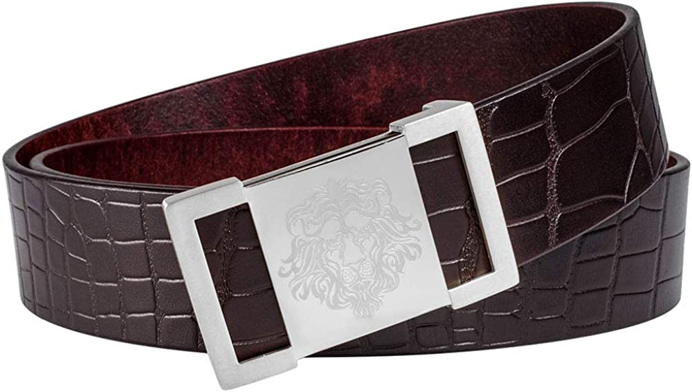 Martino Mens Brown 39 Leather Belt Crocodile Textured Cowhide Belts for Men Lion Buckle With a Meticulous Gift Box
