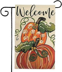 Fall Garden Flag, Thanksgiving Decorations Double Sided, Autumn Pumpkins Fall Flag for Outside Garden Yard, Halloween Garden Flag Decorations, Burlap Pumpkin Castle Bat Decorative Garden Yard Flag
