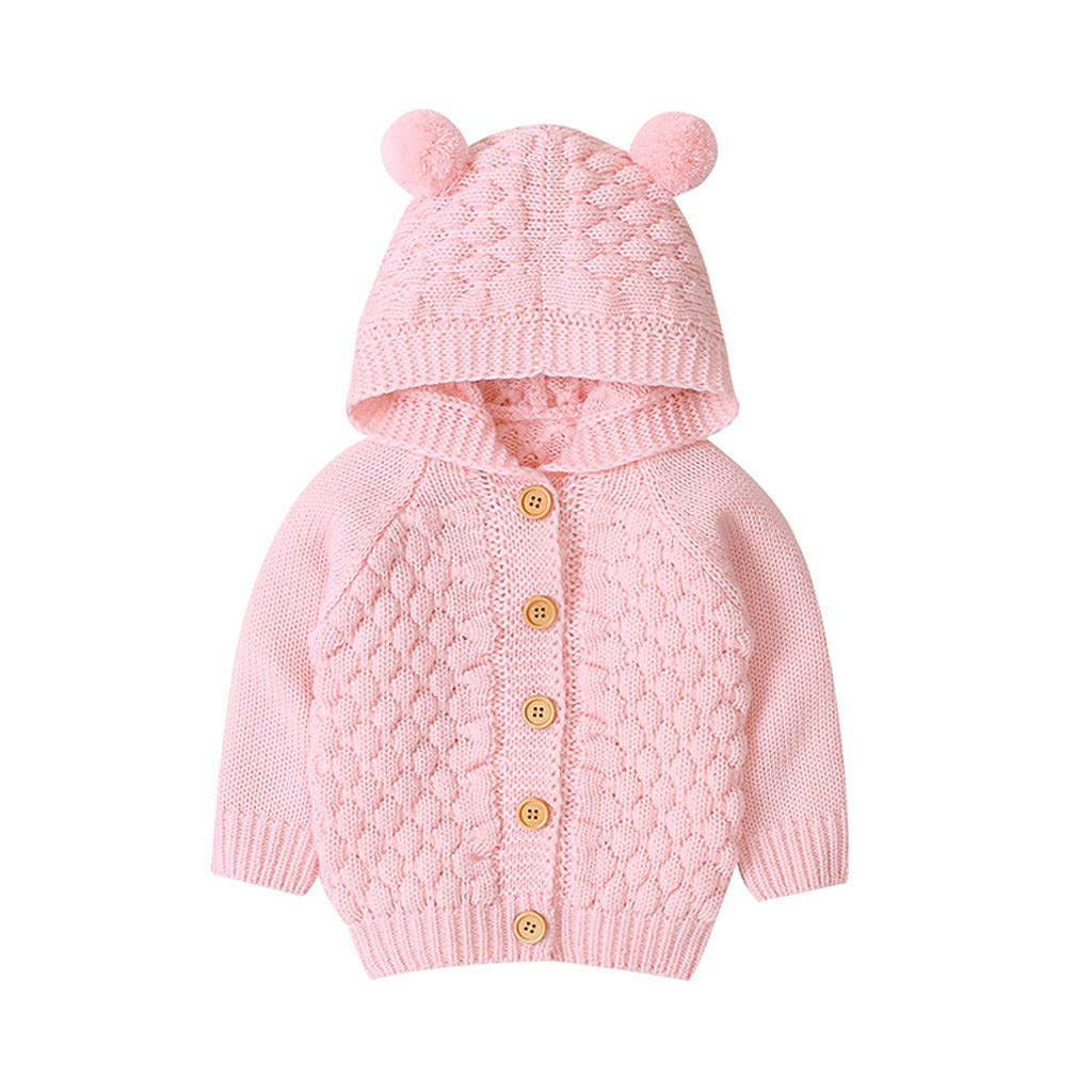 3M-1Y Caerling Knitted Jacket Infant Boy Solid Color Sweater Three-dimensional Hair Ball Hooded Sweater Jacket Winter Warm Coat Outwear Sweater