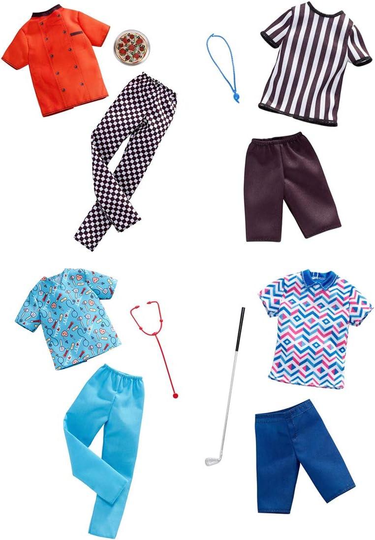 バービーファッション衣装 ケン人形用 - 4つの異なるキャリア付き - ピザシェフ、レフリー、ナース、ゴルファー